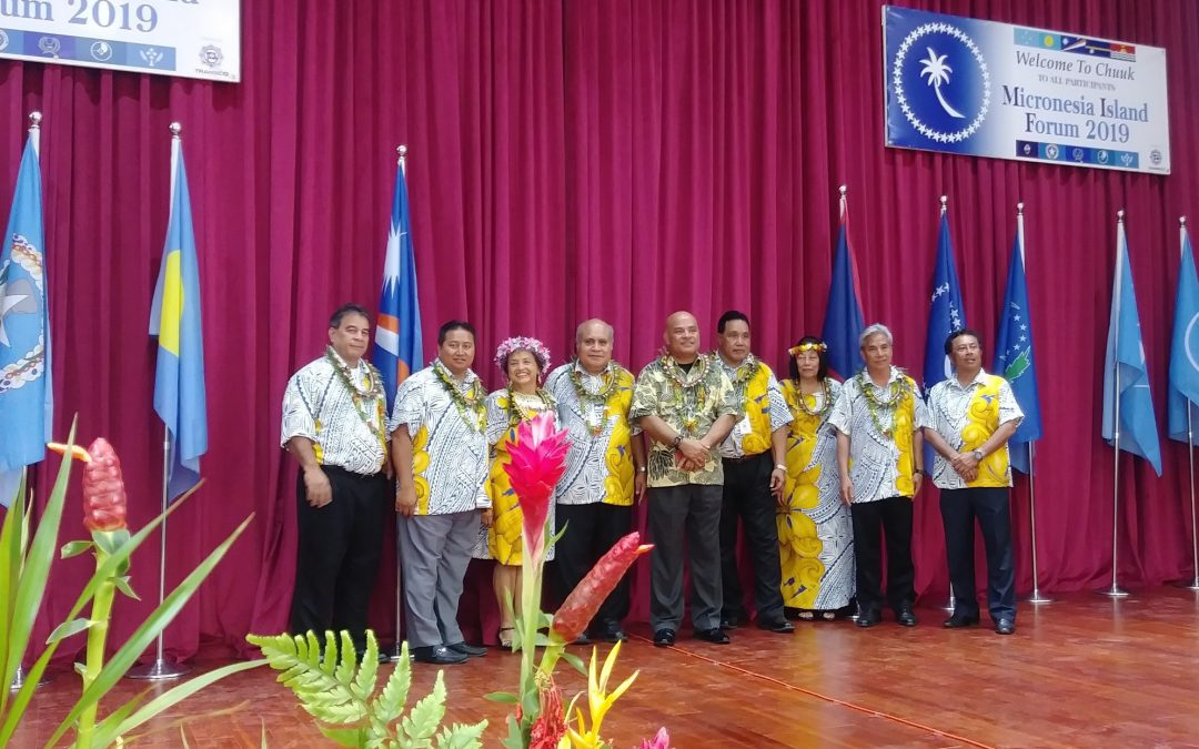 Micronesian Chief Executives endorse and sign the Regional Health Committee's two proposed resolutions at the 24th Micronesian Island Forum in Chuuk, FSM