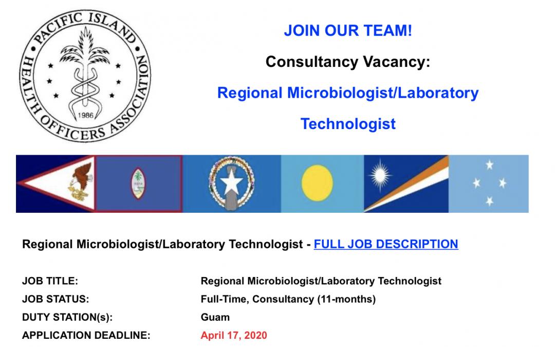 PIHOA E-Blast: Consultancy Vacancy – Regional Microbiologist/Laboratory Technologist