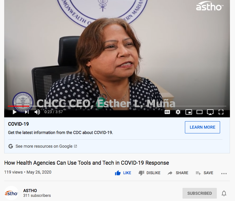 ASTHO Interviews CNMI CHCC CEO Esther Muna to Share Helpful COVID-19 Tools and Technologies