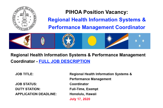 PIHOA E-Blast: Position Vacancy – HIMS & PM Coordinator