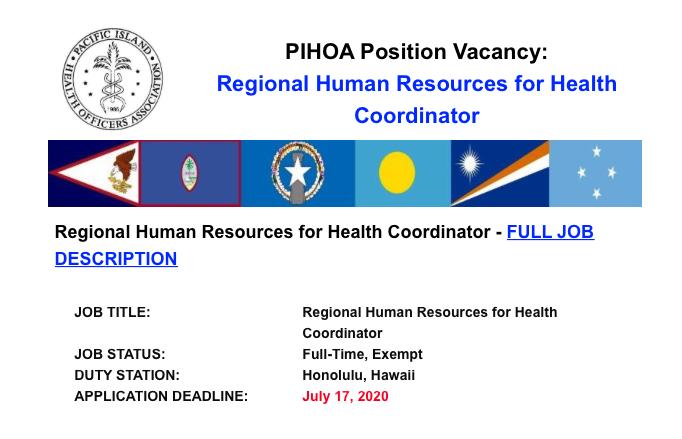 PIHOA E-Blast: Position Vacancy – HRH Coordinator
