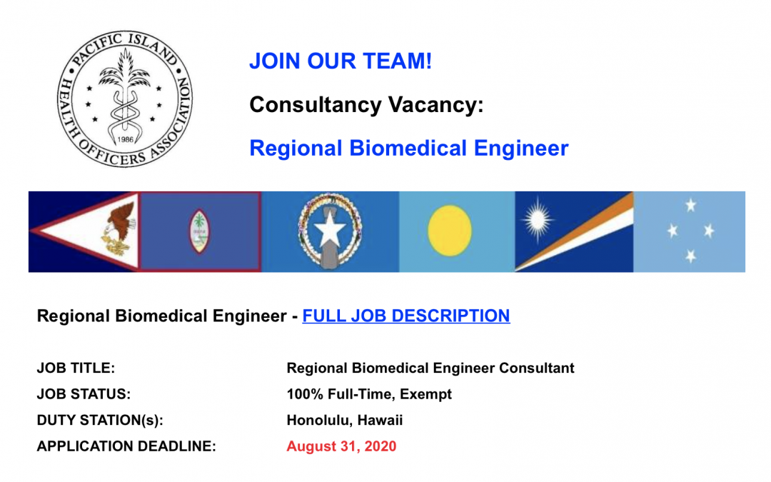 PIHOA E-Blast: Consultancy Vacancy – Regional Biomedical Engineer