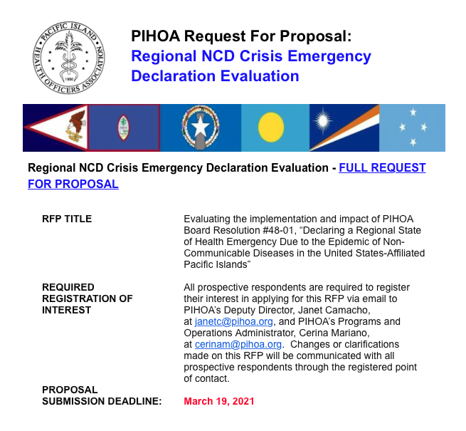 PIHOA E-Blast: Request For Proposal – Regional NCD Crisis Emergency Declaration Evaluation