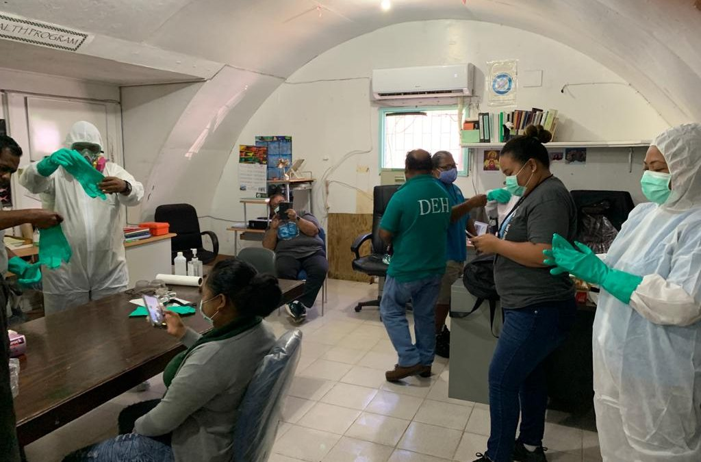 Palau Ministry of Health and Human Services, Division of Environmental Health get PPE training for dengue outbreak and prevention control