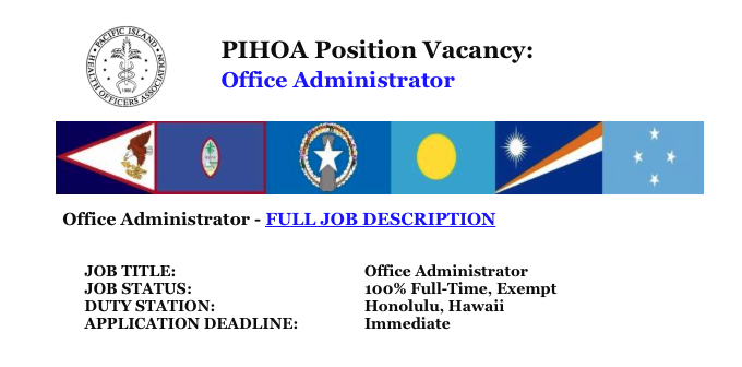 PIHOA E-Blast: Position Vacancy – Office Administrator