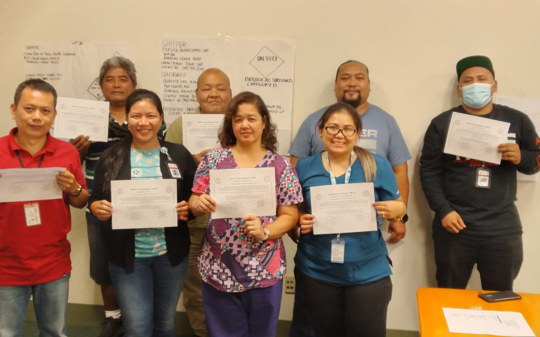 Congratulations to the CNMI, who now have 14 Certified Laboratory Shippers